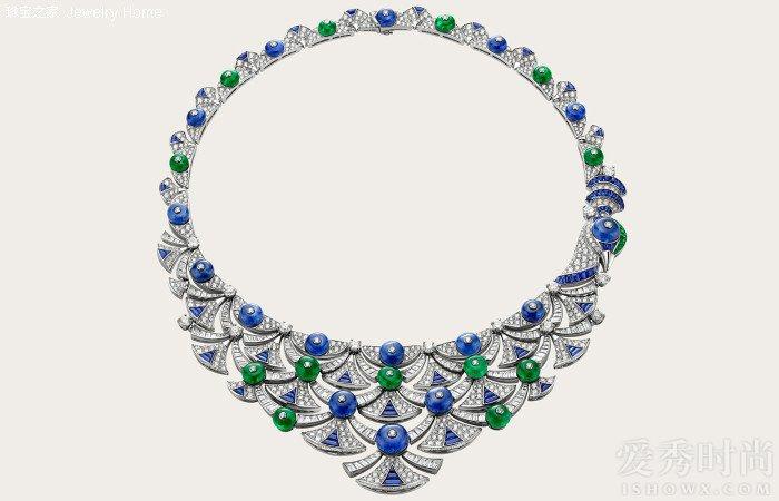 Bulgari 宝格丽 Divas' Dream 系列项链,13颗圆形祖母绿(20.20克拉) 16颗蓝宝石(43.43克拉) 祖母绿(0.69克拉) 蓝宝石(9.04克拉)