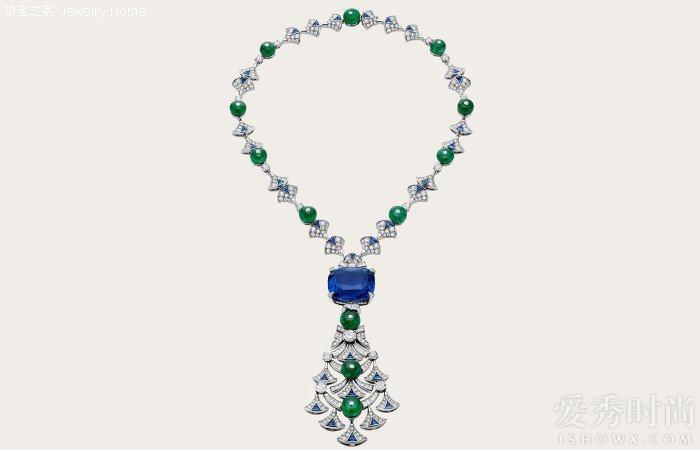 Bulgari 宝格丽 Divas' Dream 系列项链,无色钻石,祖母绿,蓝宝石