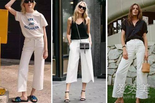 白色阔腿裤配什么上衣好看 夏季阔腿裤搭配图片大全