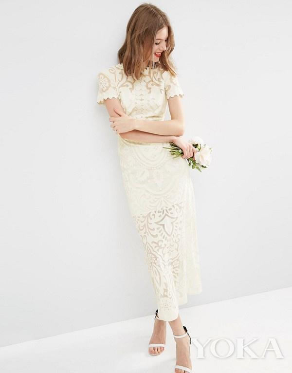 ASOS 蕾丝修身婚纱,£250.00,可购于asos.com,图片来源于官网。