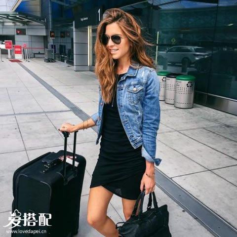 黑色mini连衣裙+牛仔夹克