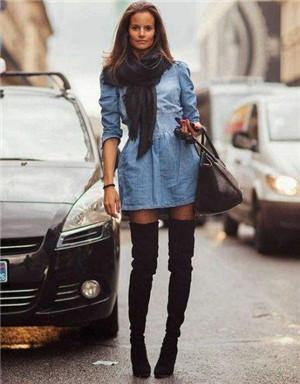 杨幂时尚街拍 过膝长靴如果搭配更显腿长图片