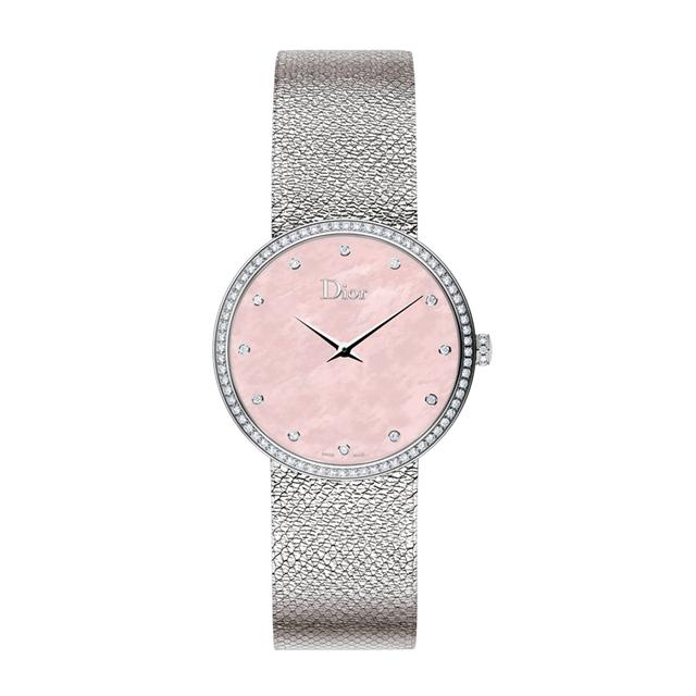 La D de Dior系列36毫米高级腕表, 粉色珍珠母贝表盘,价格67500元。