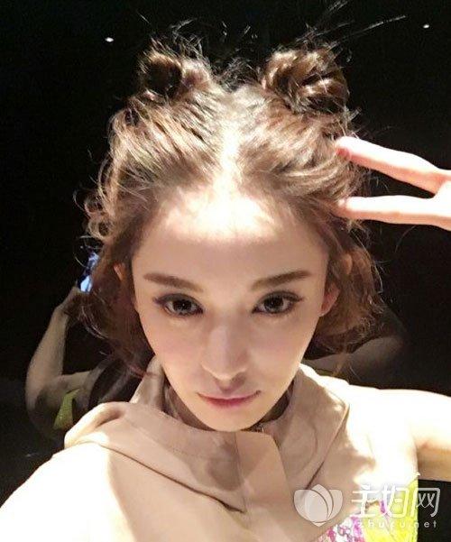 古力娜扎丸子头发型图片