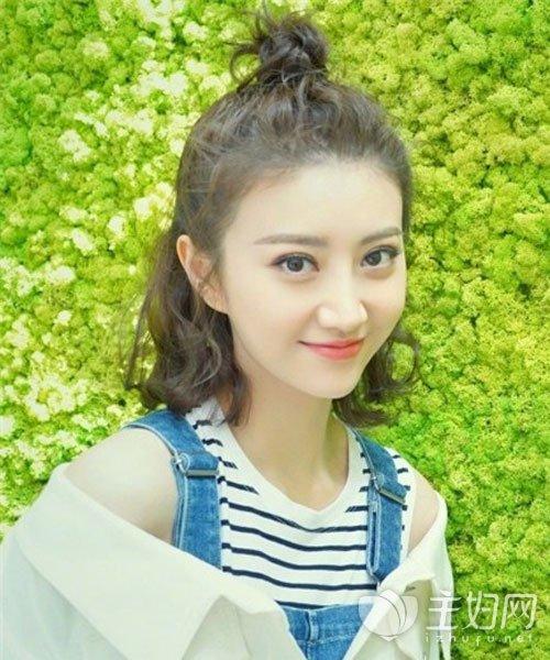 【赵丽颖图片头圆脸】明星丸子头发型谁最美丸子适合的中长发发型头像图片女生图片