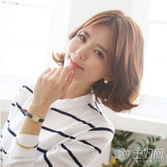 无刘海姐姐发型佳韩国小气质都爱女生烫发短发短发波波头短发烫图片