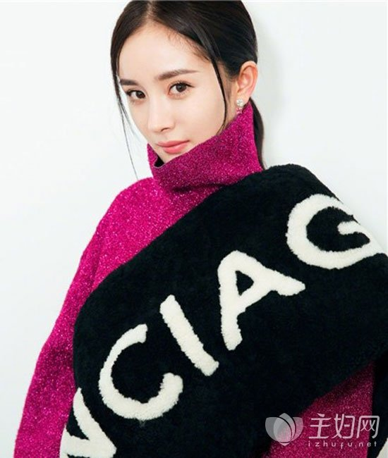 杨幂发型搭配高领毛衣