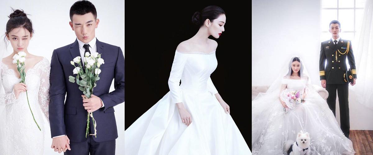 张馨予婚纱照简约优雅 这8款婚纱也很美