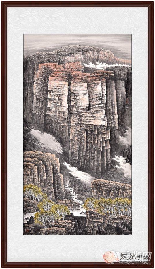 李林宏六尺竖幅山水画作品《静谧无声》来源:易从网图片