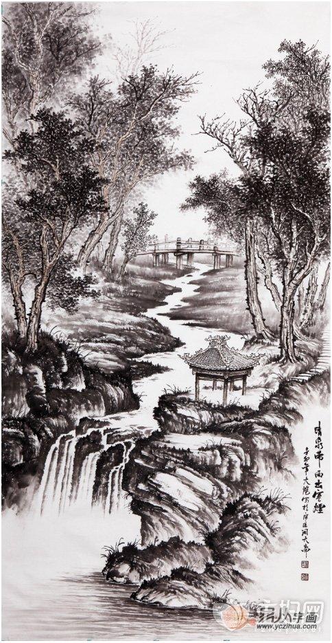 画家吴大恺山水画欣赏,黑白世界彰显精致笔墨