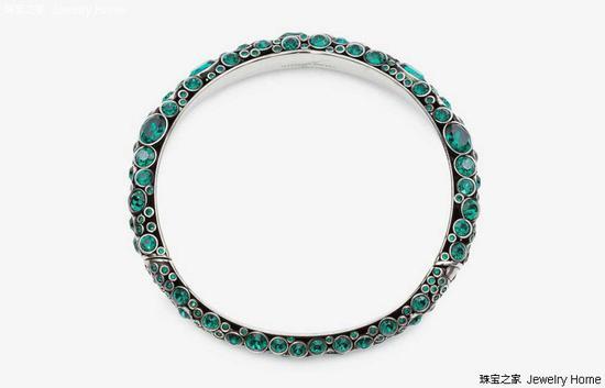 Alexander McQueen Choker项圈,AtelierSwarovski绿色水晶、搪瓷、古玩银