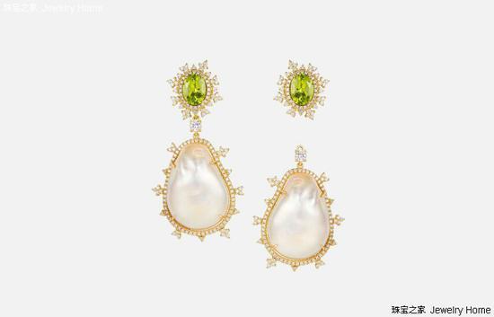 Nadine Aysoy Tsarina 耳环,18K黄金,巴洛克珍珠,橄榄石,钻石