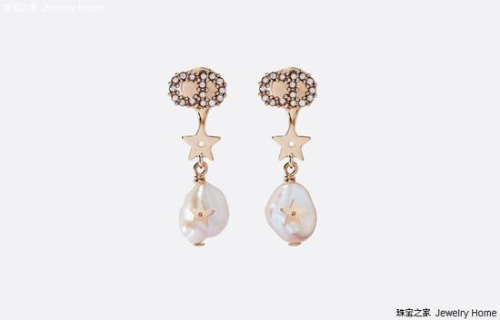 Dior 迪奥 SHINY-D耳环,Shiny-D镀金金属、白色水晶和白色饲养珍珠耳环