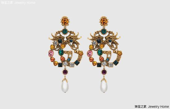 Gucci 古驰 水晶双G耳环,(主张单只能够用作胸针佩带),价格:RMB 13,900