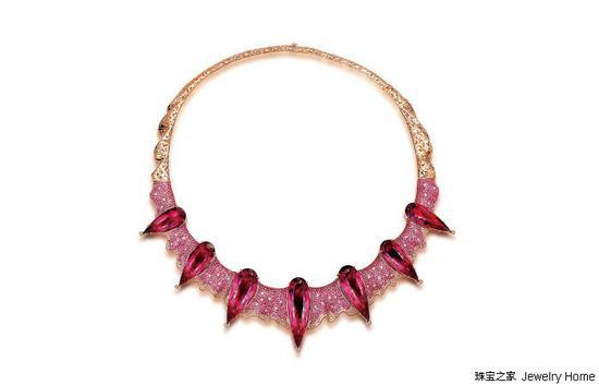 Fei Liu Choker项圈,18K黄金卢比来、粉色蓝宝石、钻石