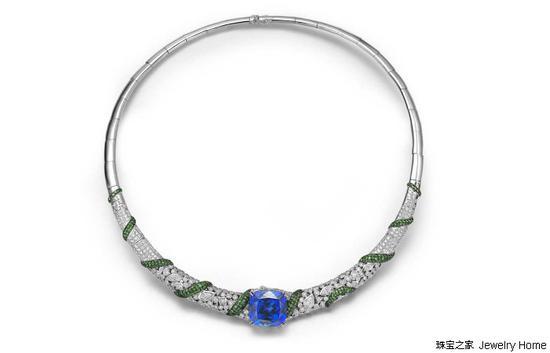 Fei Liu Choker项圈,18K白金,坦桑石,沙弗莱石,钻石