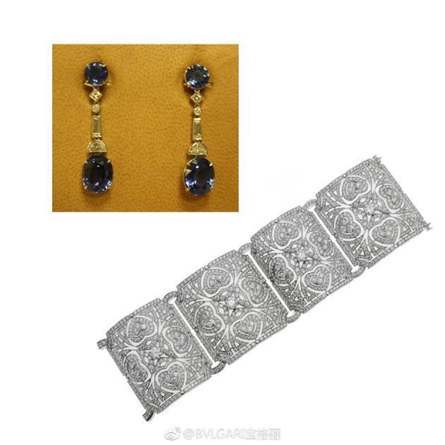 宝格丽意大利花园高档珠宝系列白金钻石手镯及蓝宝石耳坠