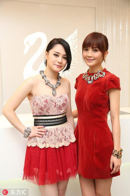 2012年阿娇和阿Sa一起到会过施华洛世奇品牌活动