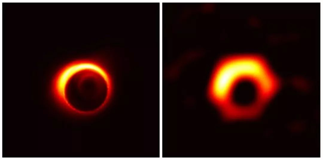 ▲M87星系中心的超大质量黑洞的模仿图画,中心的黑色区域是黑洞的剪影。(图片来历:Jason Dexterand Kazunori Akiyama)