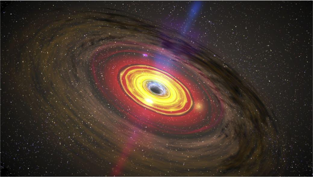 ▲类星体中心超大质量黑洞及吸积盘、喷流示意图(图片来历:NASA/Goddard Space Flight Center)