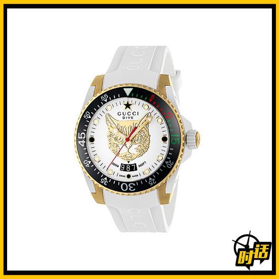 Gucci Dive系列白色潜水腕表,表盘上有虎头装修