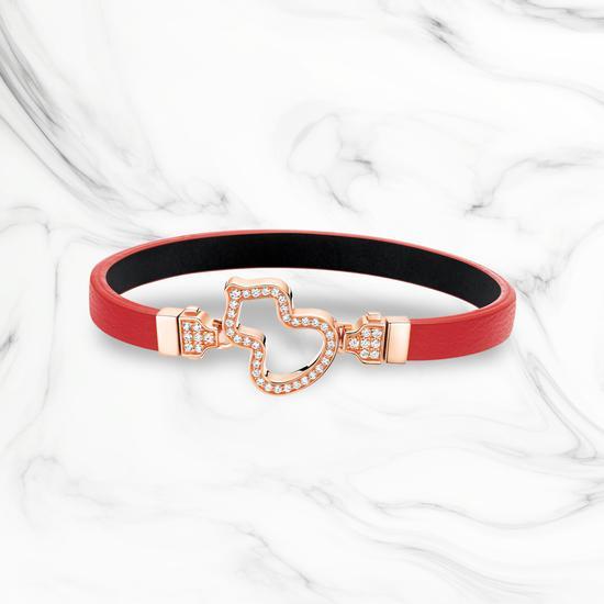 Wulu18K玫瑰金钻石链扣和可替换赤色牛皮手链